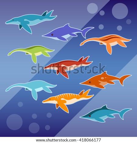 Set of water jurassic reptiles - stock photo