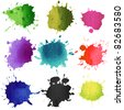 Set of watercolor blobs, isolated on white background - stock photo