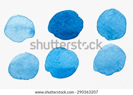 set of watercolor blue circles - stock photo
