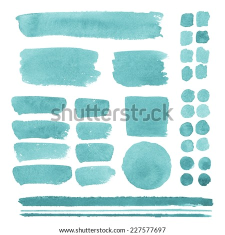 Set of watercolor elements, isolated on white, for trendy design of your website  - stock photo
