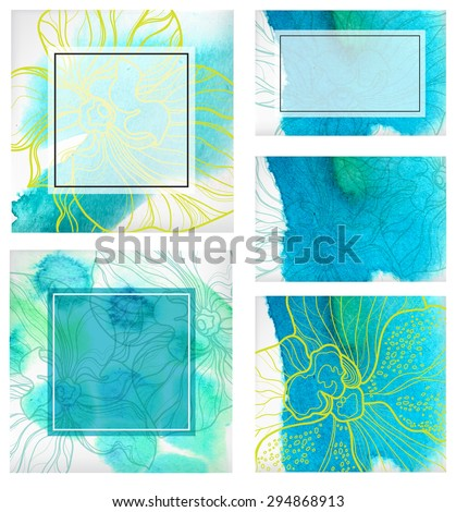 Set of watercolor floral backgrounds, freehand drawing - flowers and leafs - stock photo