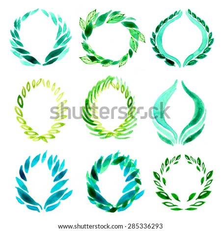 Set of watercolor handmade design elements with leafs and flowers - stock photo