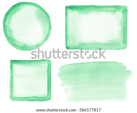 Set of watercolor objects. Spots on a white background. Circle, square, rectangle, spot. Green. Gradient.  - stock photo