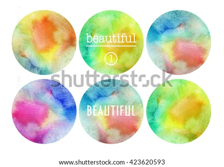Set of watercolor stain. Spots on a white background. Circle.  - stock photo