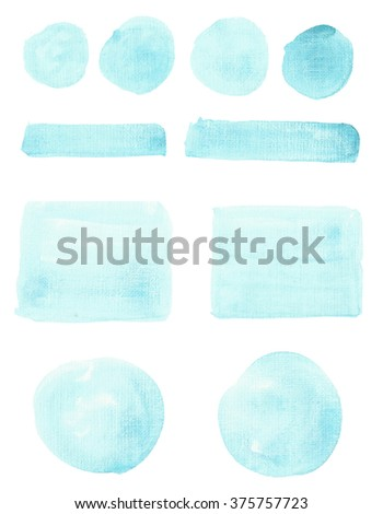 Set of watercolor stripes. Spots on a white background. Round, rectangle, strip. Blue color - stock photo