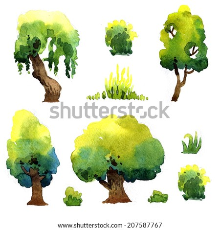Set of watercolor trees isolated on white background - stock photo