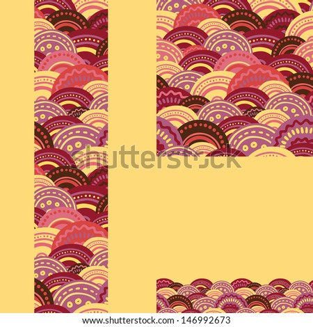 Set of waves seamless pattern and borders backgrounds raster - stock photo