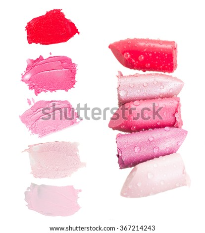 set of  wet lipsticks and lipstick  smears isolated on white background - stock photo