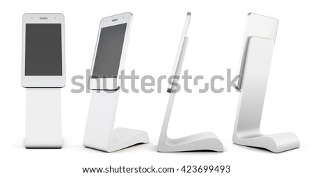 Set of white advertising stand in the shape of telephone isolated on white background. Outdoor advertising stand. 3d rendering - stock photo