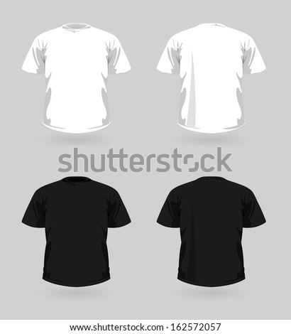 Set of white and black t-shirts  - stock photo