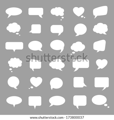 Set of white bubbles for speech on a gray background. Elements for design.  - stock photo