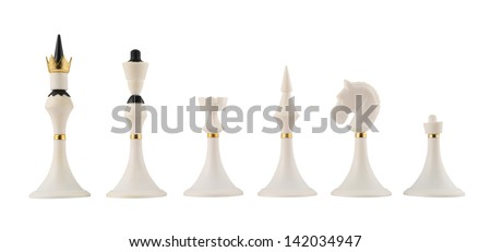 Set of white chess figures isolated over white background - stock photo