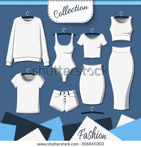 Set of white clothes to create design on dark  background. Sweatshirt and T-shirt. T-shirt and shorts. Swimsuit. Suit with skirt. Template clothing - stock photo