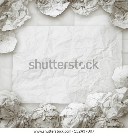 set of white crumpled paper background texture in composition as vintage style - stock photo