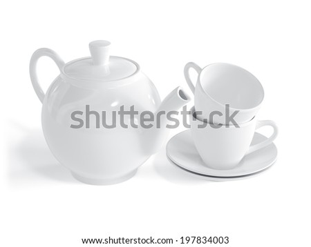 Set of white cups and teapot isolated on white background  - stock photo