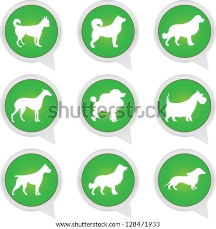 Set Of White Dog on Green Icons Isolated on White Background - stock photo