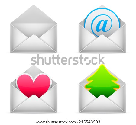 Set of 4 white envelopes with different content. - stock photo
