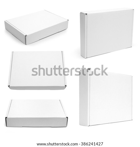 Set of white flat boxes isolated on white background. Mockup - stock photo