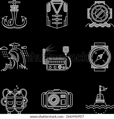 Set of white flat line icons for marine equipment and diving outfit on black background.  - stock photo