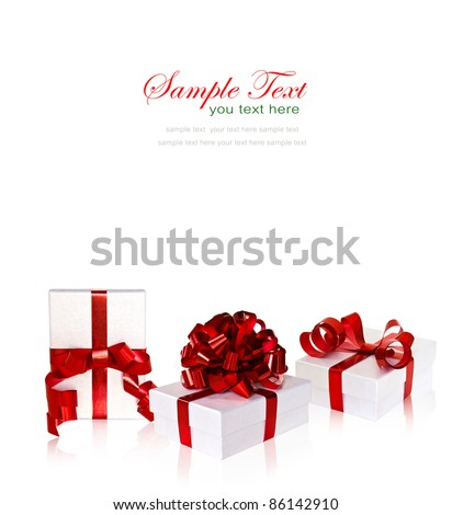 Set of white gift box with red ribbon and bow on white background with copy space. - stock photo