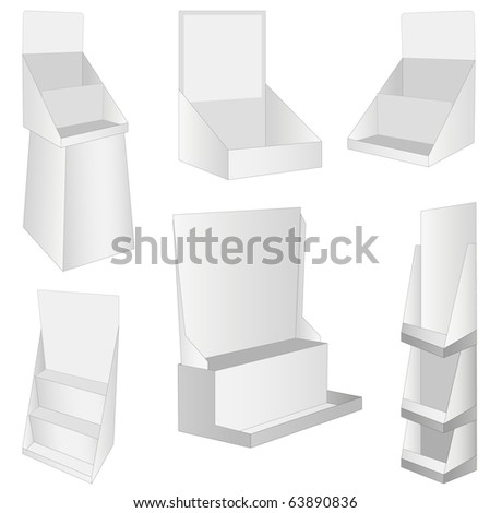 set of 6 white new display. - stock photo