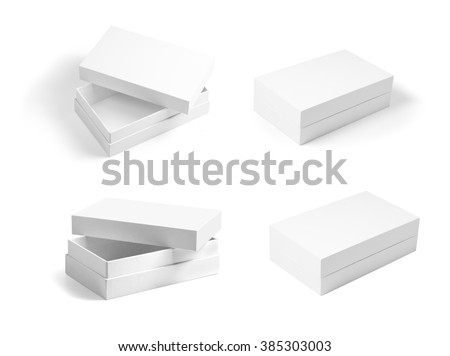 set of white opened and closed paperboard boxes. Template for designers. Mockup ready for your design. - stock photo
