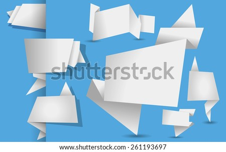 set of white origami tags, banners and labels on a  blue background - stock photo