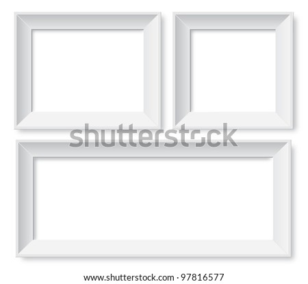 Set of white photo frames - stock photo