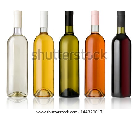 Set of white, rose, and red wine bottles.isolated on white background - stock photo
