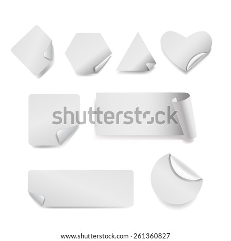 Set of white stickers geometric shapes with shadow and a curved corner ,isolated on a white background.Triangle, square, circle, rectangle,polygon,heart - stock photo