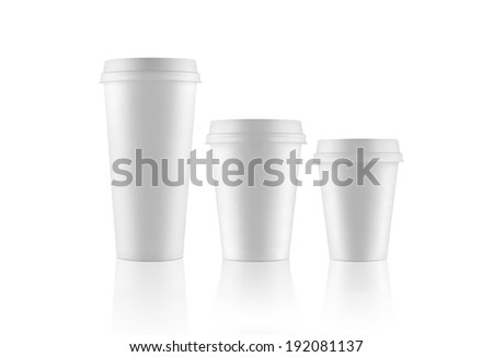 Set of white take-out coffee cups on white background with various sizes - stock photo