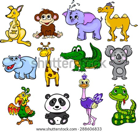 Set of wild animals third for children - stock photo