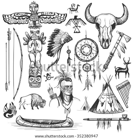 Set of wild west american indian designed elements.: bear, arrows, fox, wigwam, rabbit, owl, feathers, beads, onions, fire, tomahawk, torch . The concept for the design. - stock photo