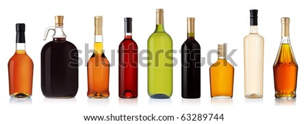 Set of wine and brandy bottles. isolated on white background - stock photo
