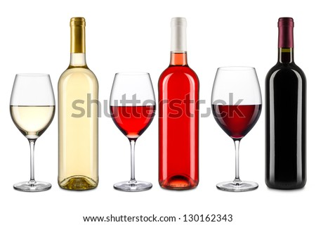 set of wine bottles and glasses - stock photo