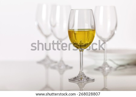 Set of wine glasses on the table - stock photo