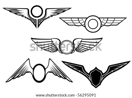 Set of wing symbols - also as emblem. Vector version also available in gallery - stock photo