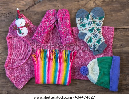set of winter clothes - stock photo