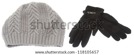 Set of winter hat and gloves isolated on white background - stock photo