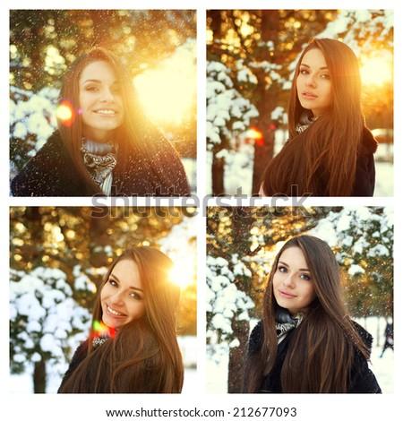 set of 4 winter portraits. Beautiful smiling brunette girl posing under snowfall - stock photo