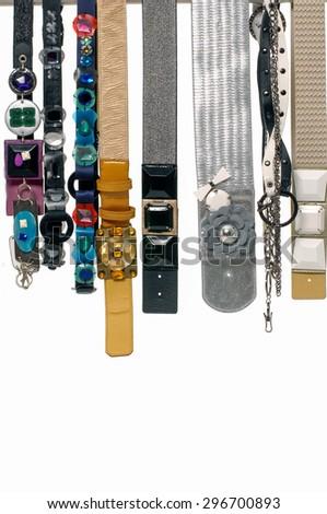 Set of woman many belts  - stock photo
