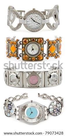 Set of woman watches on white background - stock photo