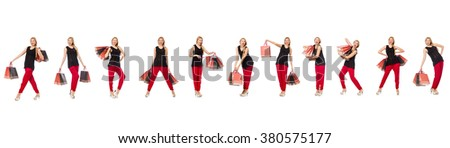 Set of woman with shopping bags on white - stock photo