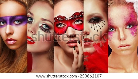 Set of Women's Faces with Bright Makeup - stock photo