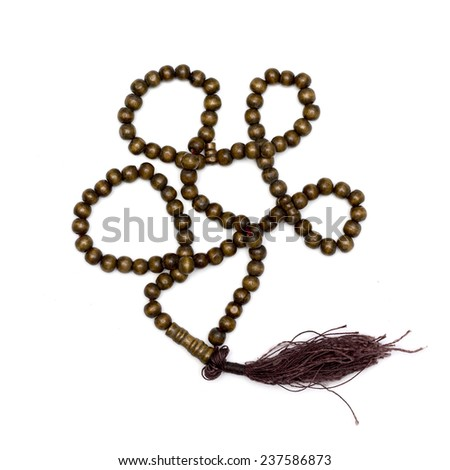 Set of wood tasbih isolated white background  - stock photo
