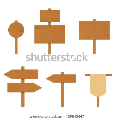 Set of wooden signs. A plywood Board. The direction arrow on the road. Place for ads. Rural Road sign. Arrow pointer. illustration. - stock photo