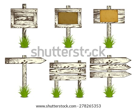 Set of Wooden signs in a grass, isolated on white background, illustration. - stock photo