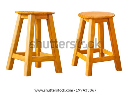 set of wooden stool, isolated - stock photo