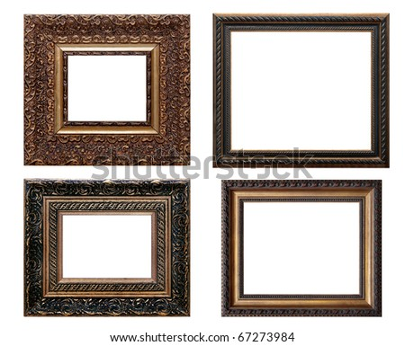 set of wooden vintage picture frame, isolated with clipping path - stock photo