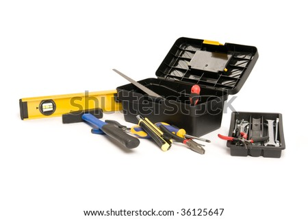 Set of work tools in the plastic box - stock photo